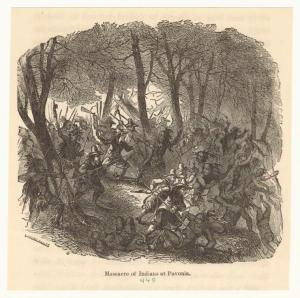 Massacre of Indians at Pavonia, 1643. (From History of the City of New York from Its Earliest Settlement to the Present Time by Mary L. Booth, 1859 (Courtesy of New York Public Library))