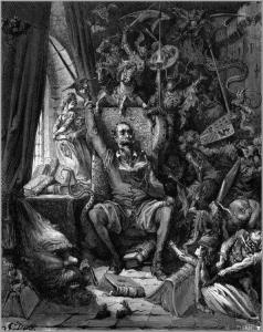 Don Quixote in his library, illustration by Gustave Doré, 1863 (Courtesy We Heart Illustration).
